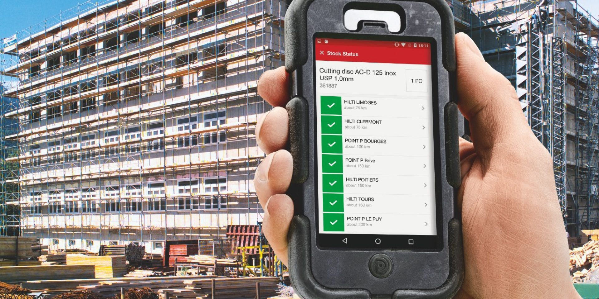 Application Hilti Localisation du Stock