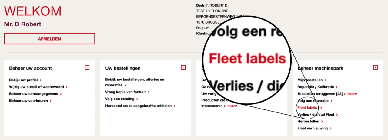 Fleet labels bewerken