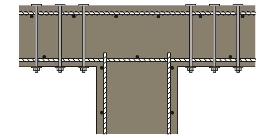 Post installed rebar shear reinforcement Eurocode 2 solution
