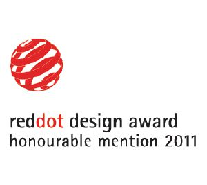 "Dit product is bekroond met de ""Honourable Mention"" (eervolle vermelding) Red Dot Communication ontwerponderscheiding"